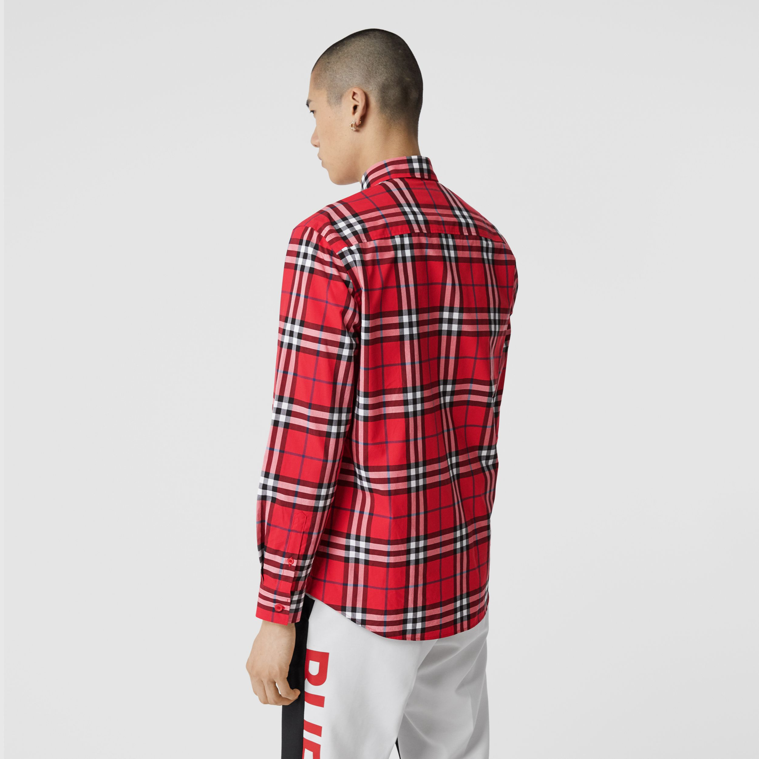 Check Cotton Poplin Shirt in Bright Red - Men | Burberry - 3