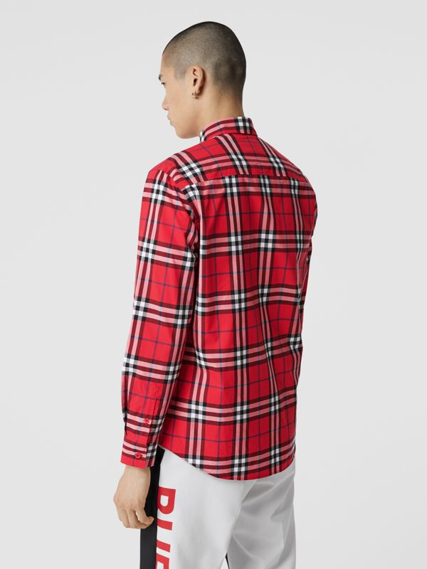 Check Cotton Poplin Shirt in Bright Red - Men | Burberry Hong Kong S.A.R - cell image 2