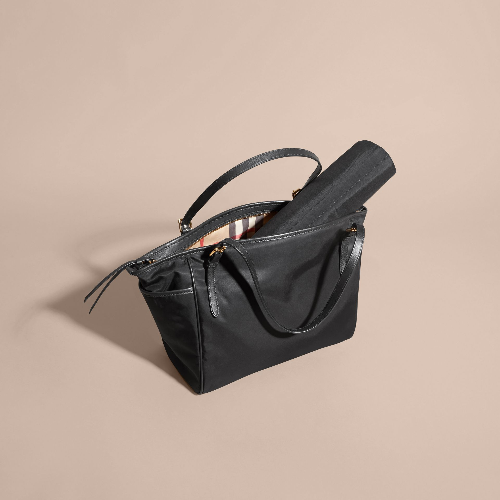Black Leather Trim Baby Changing Tote Bag - gallery image 3