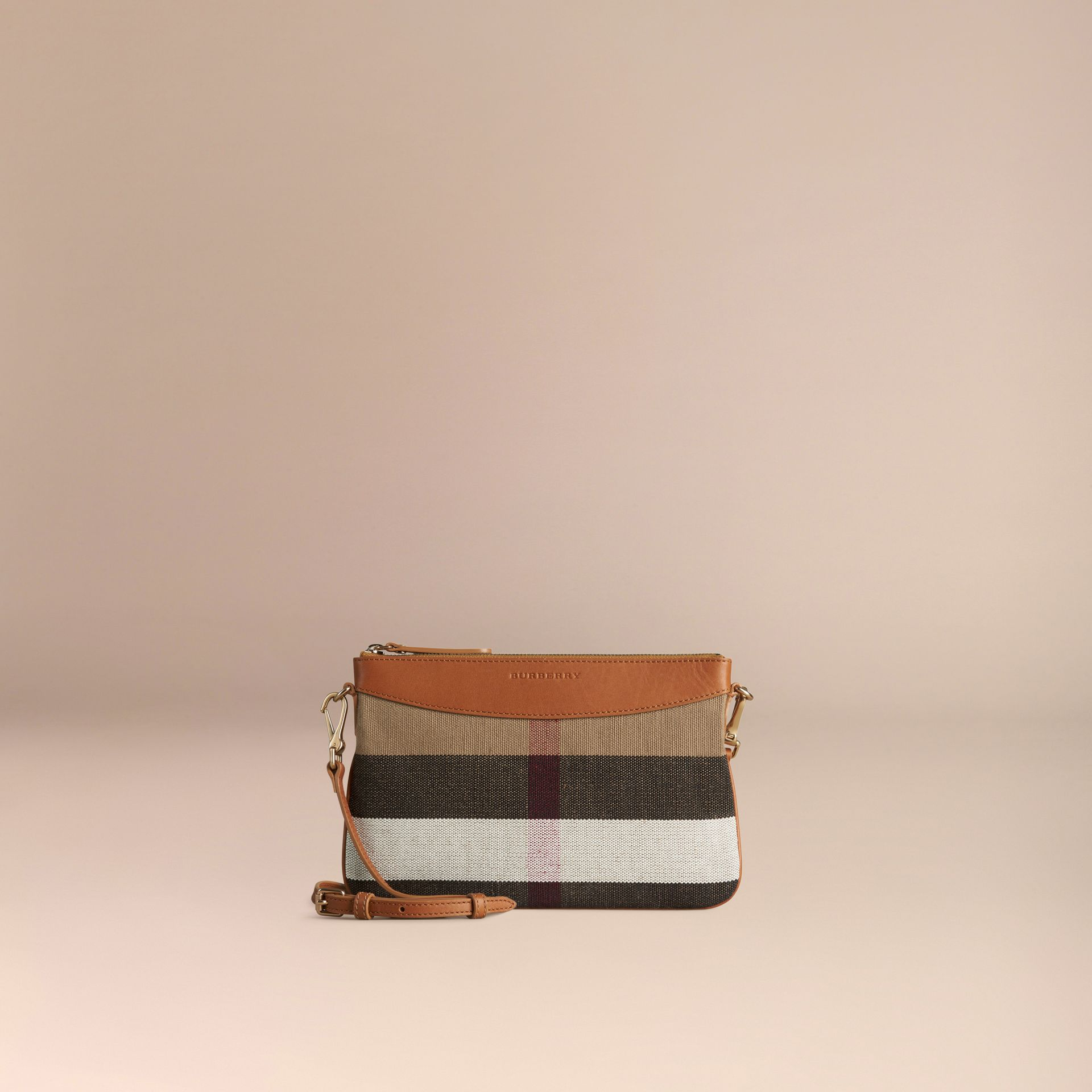 Saddle brown Canvas Check and Leather Clutch Bag Saddle Brown - gallery image 6
