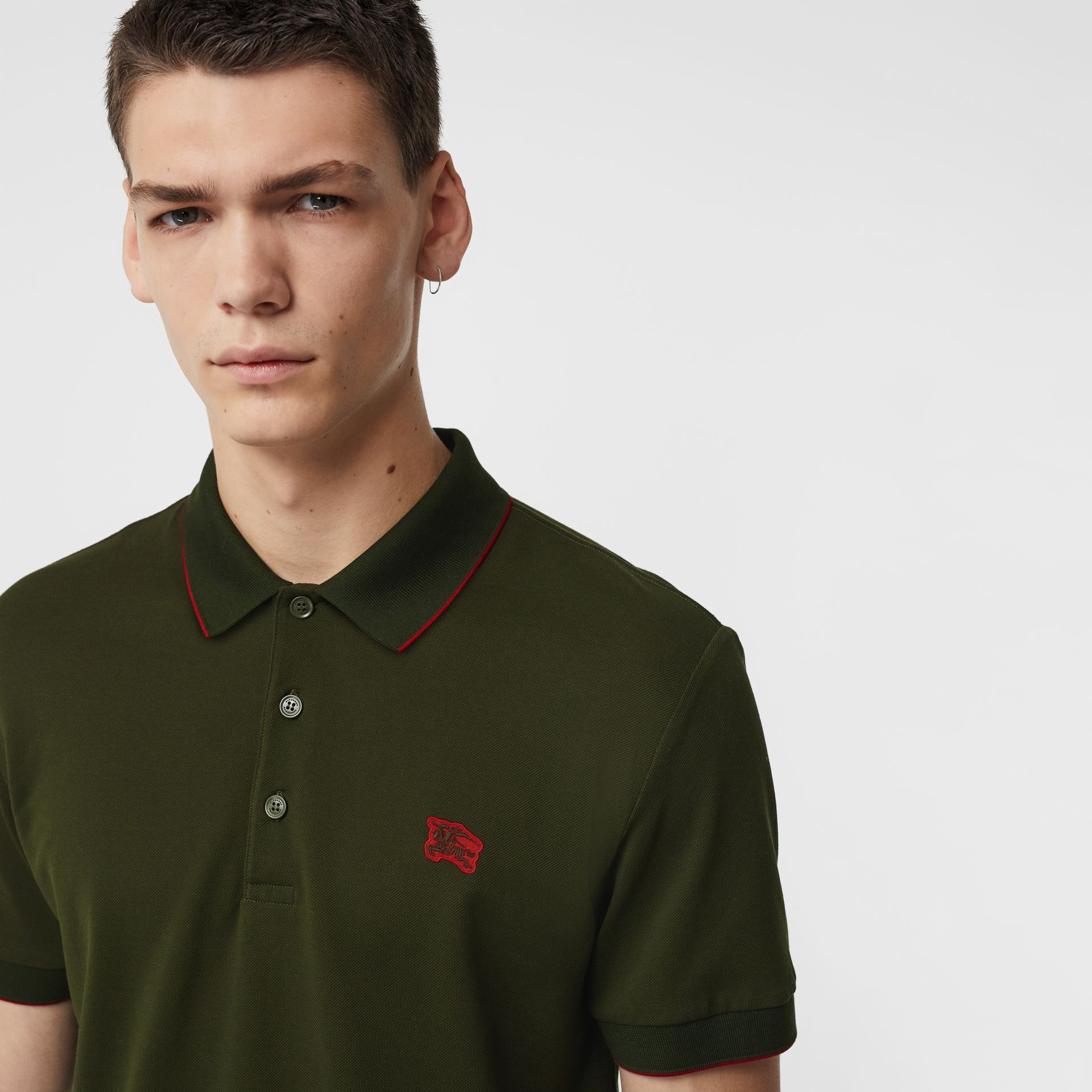 Tipped Cotton Piqué Polo Shirt in Dark Antique Green - Men | Burberry Australia - gallery image 1