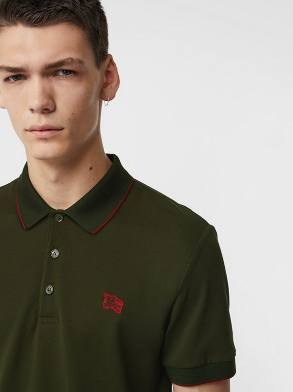 Tipped Cotton Piqué Polo Shirt in Dark Antique Green - Men | Burberry Australia - cell image 1