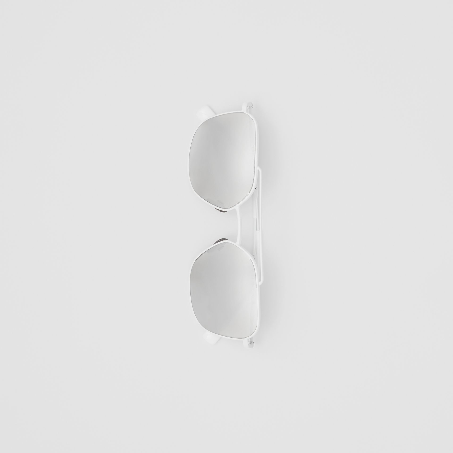 Top Bar Detail Square Pilot Sunglasses in Matt White - Men | Burberry - gallery image 3