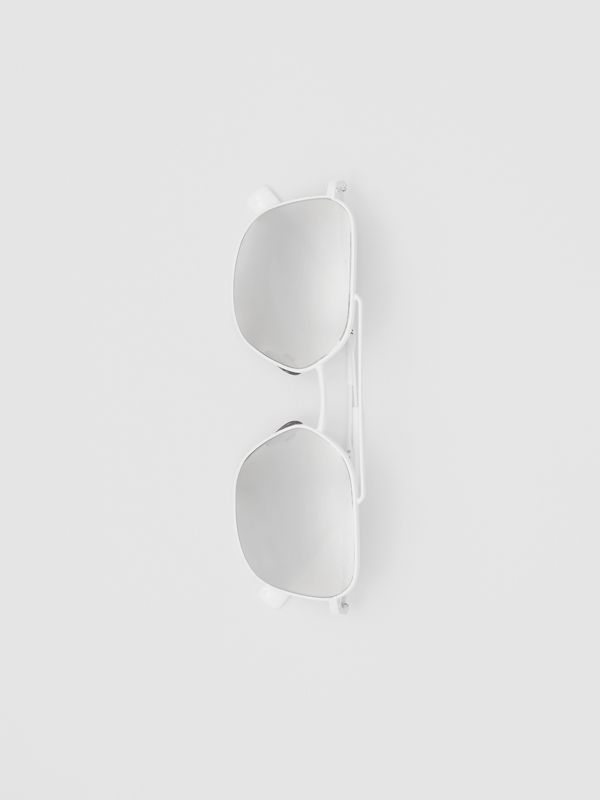 Top Bar Detail Square Pilot Sunglasses in Matt White - Men | Burberry - cell image 3