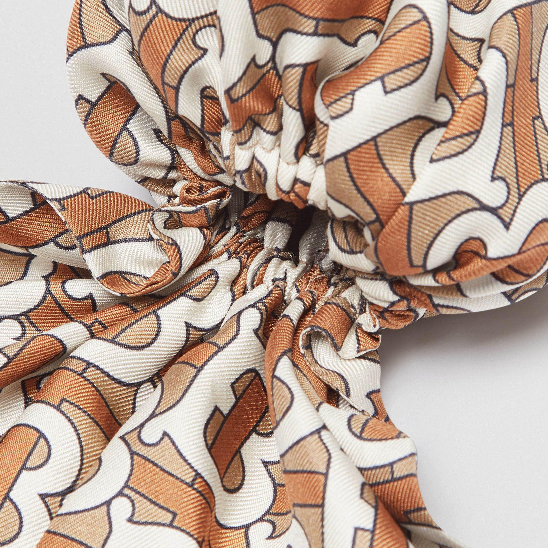 Monogram Print Silk Hair Scarf in Pale Olive - Women | Burberry Canada - gallery image 1