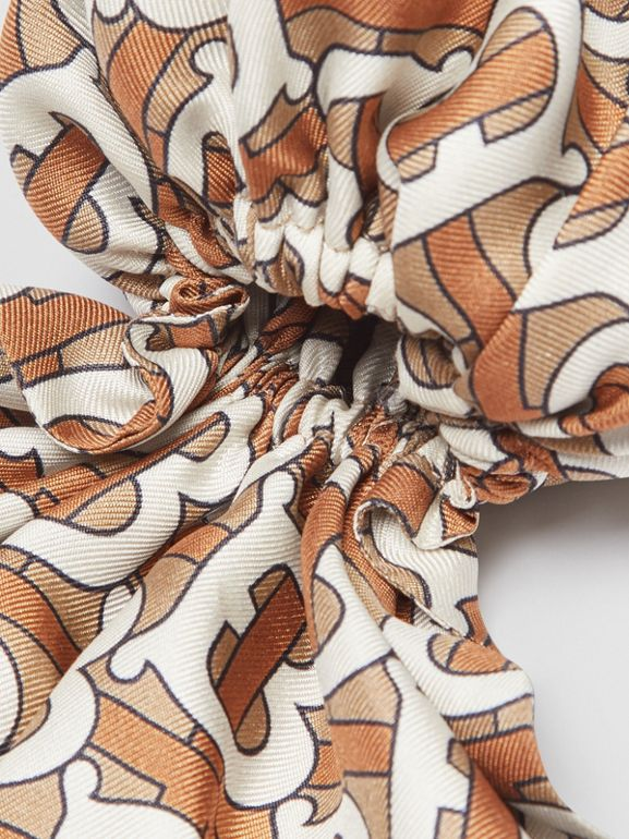 Monogram Print Silk Hair Scarf in Pale Olive - Women | Burberry Canada - cell image 1