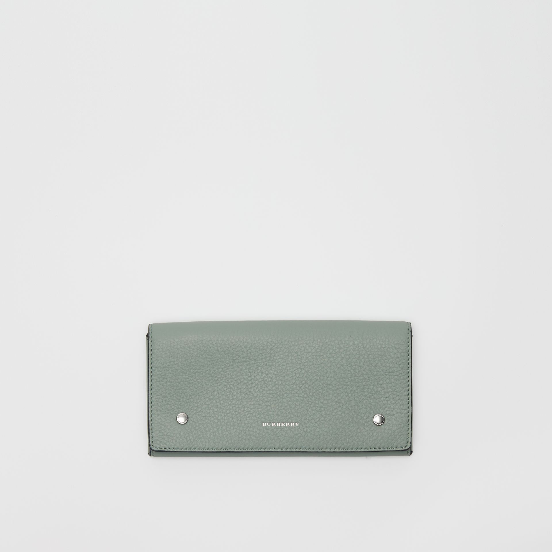 Two-tone Leather Continental Wallet in Grey Blue - Women | Burberry - gallery image 0
