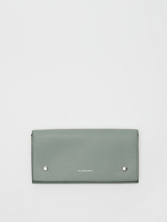 Two-tone Leather Continental Wallet in Grey Blue