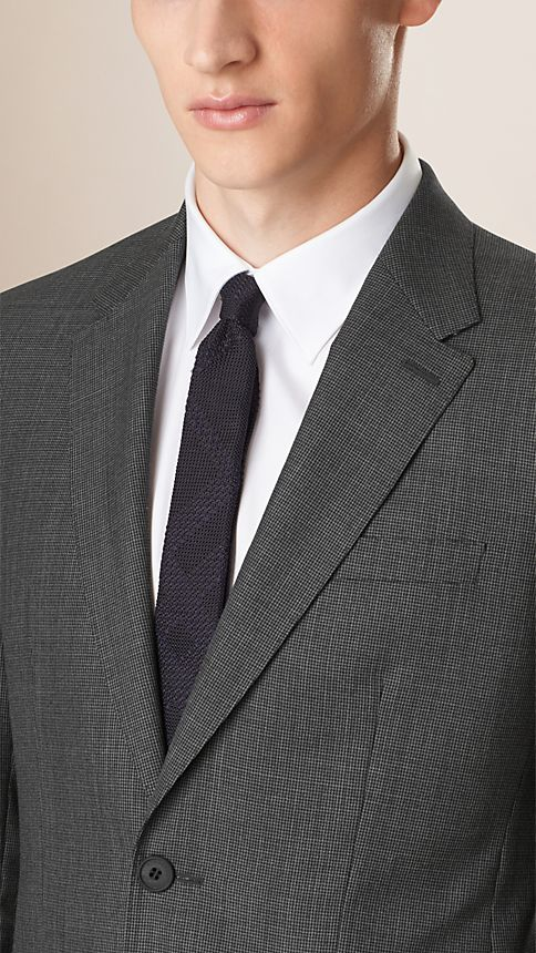 Mid grey melange Modern Fit Wool Cashmere Microcheck Part-canvas Suit - Image 3