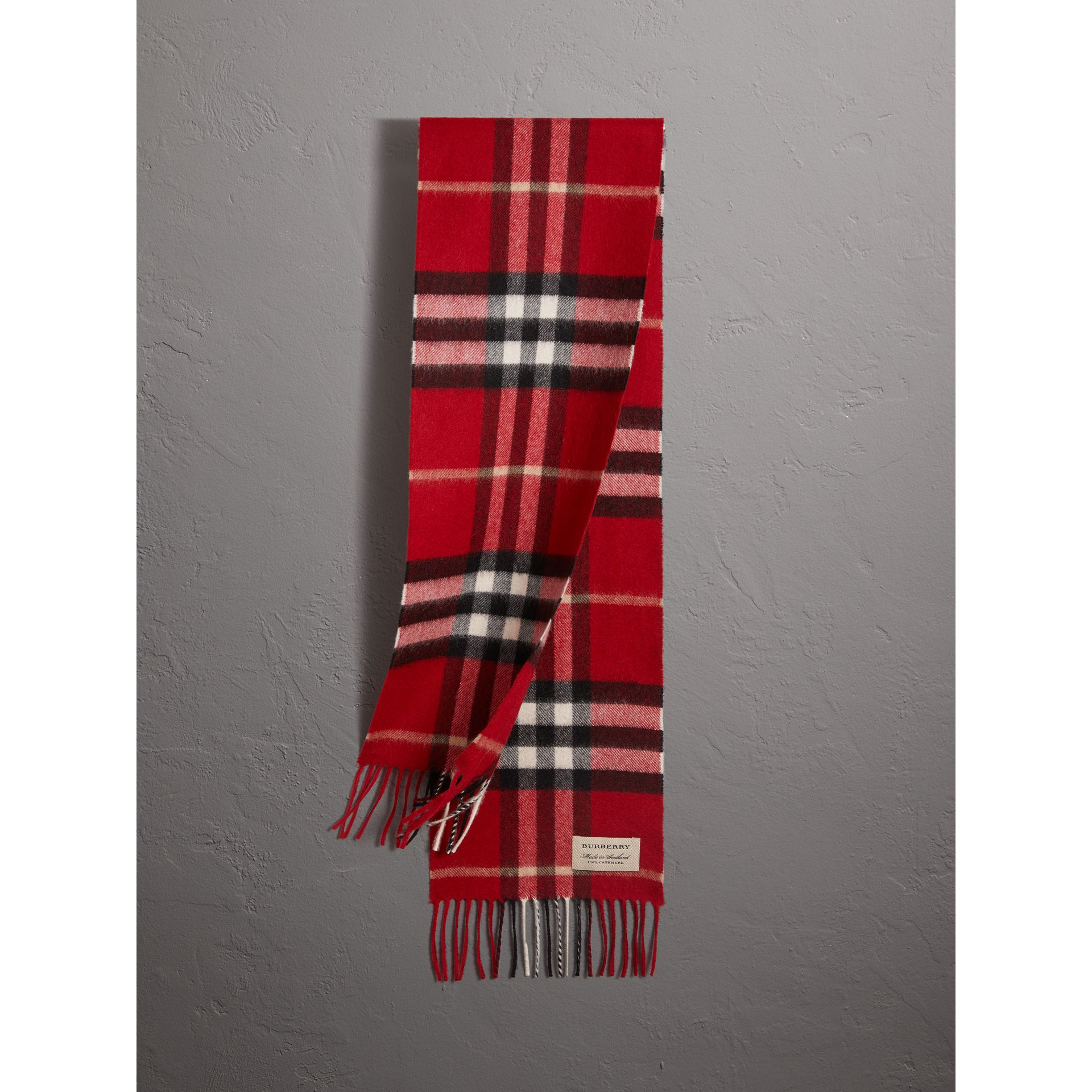 The Mini Classic Check Cashmere Scarf in Parade Red | Burberry United Kingdom - gallery image 0