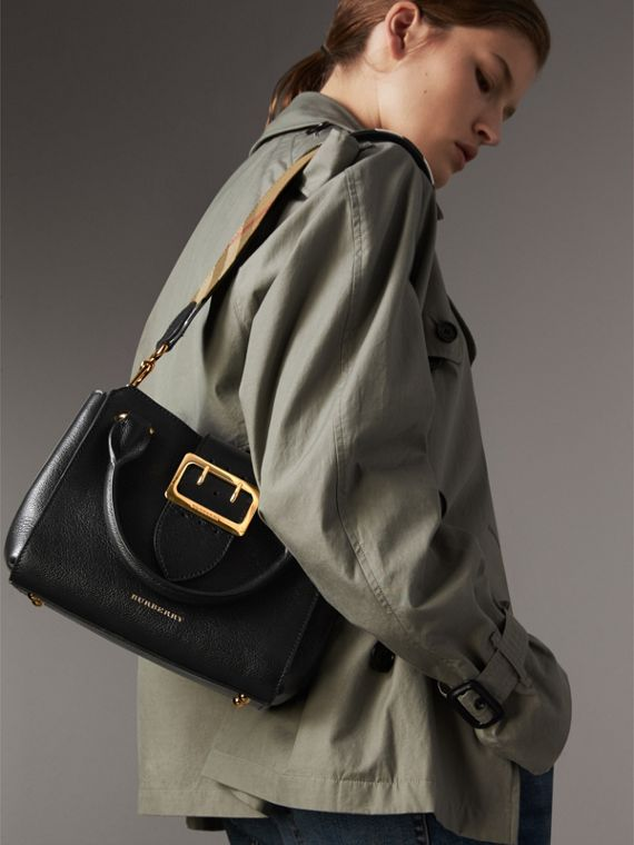 The Small Buckle Tote in Grainy Leather in Black - Women | Burberry United Kingdom - cell image 3