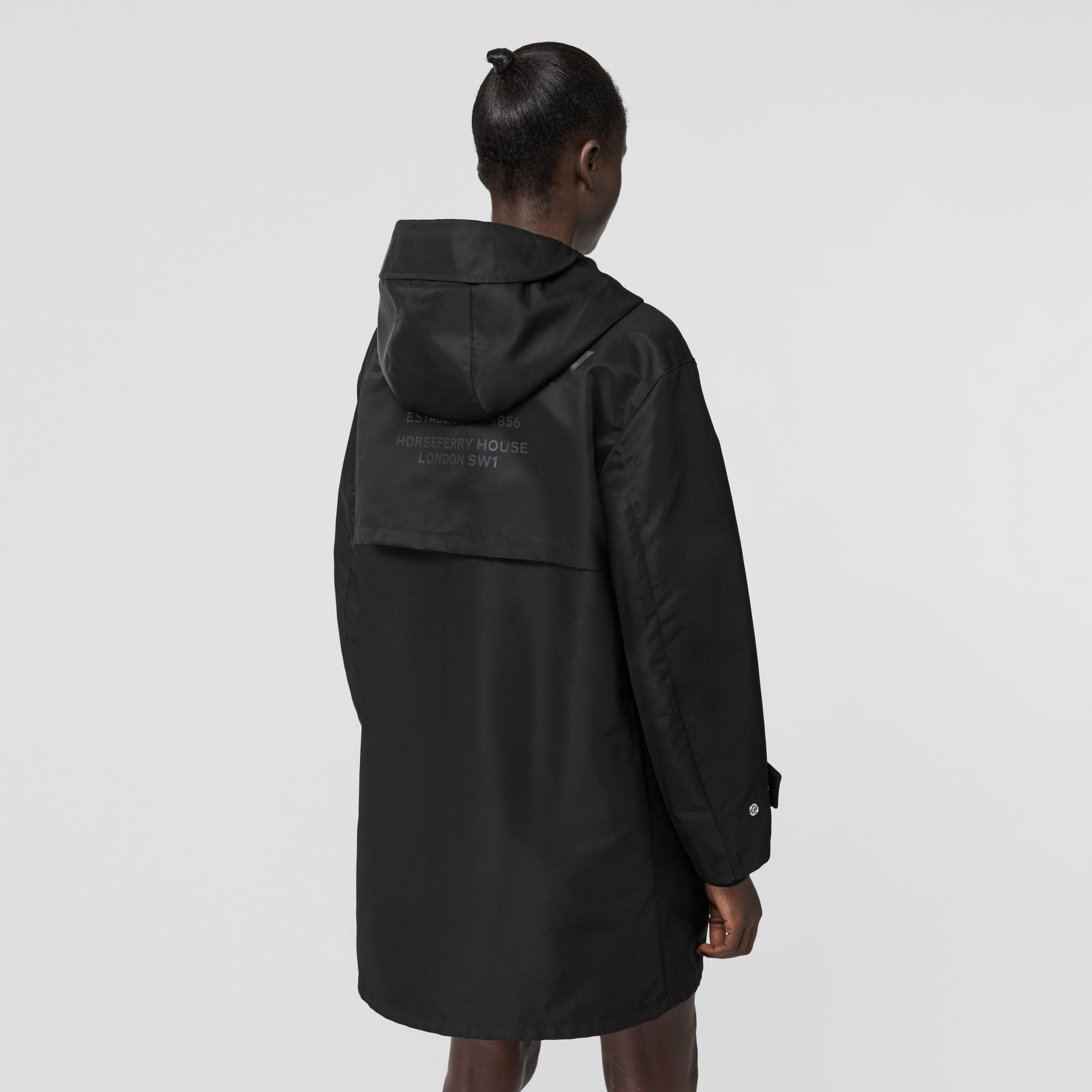 Horseferry Print Nylon Twill Parka in Black - Women | Burberry Singapore - gallery image 2