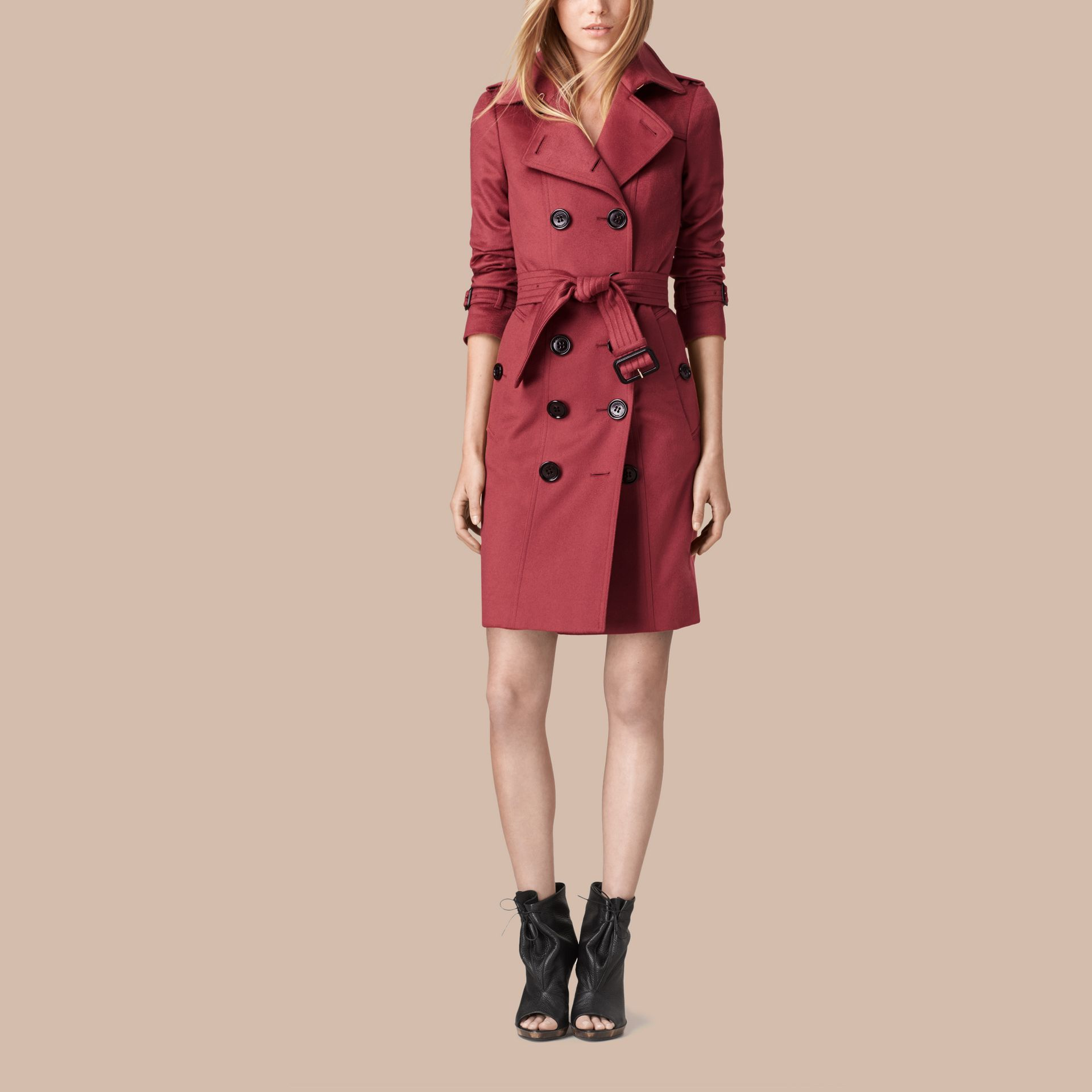 Dusty peony rose Sandringham Fit Cashmere Trench Coat Dusty Peony Rose - gallery image 1
