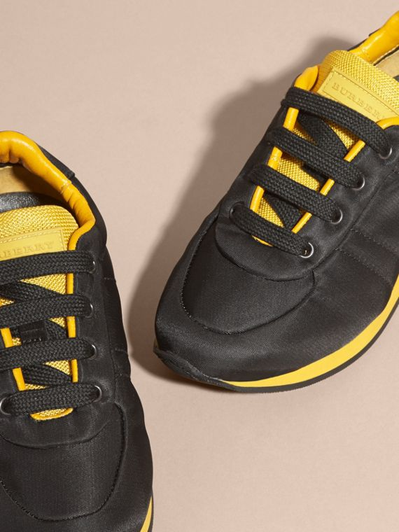 Black/burnt yellow Colour Block Satin and Leather Sneakers Black/burnt Yellow - cell image 2