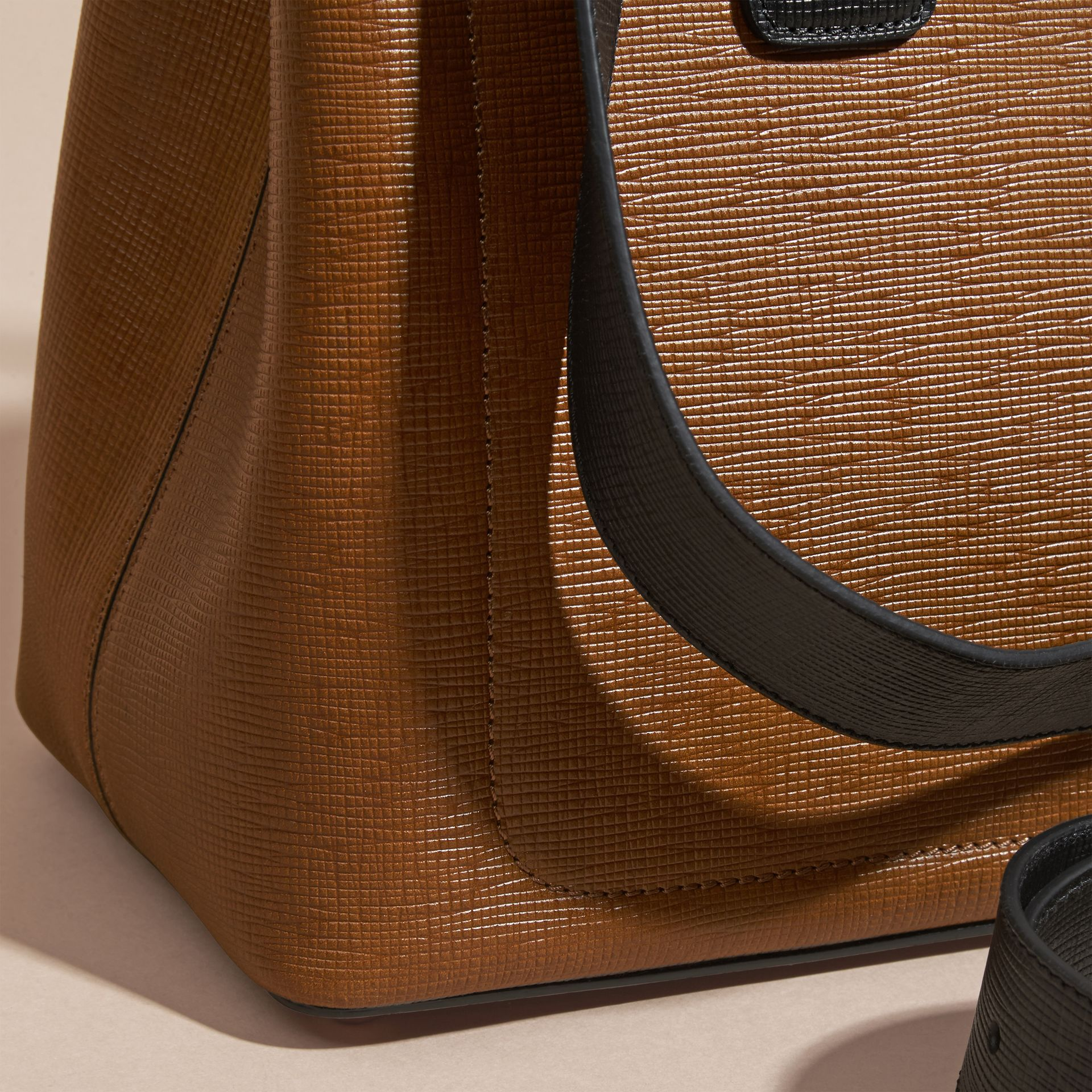 Tan The Medium Saddle Bag in Textured Bonded Leather - gallery image 2