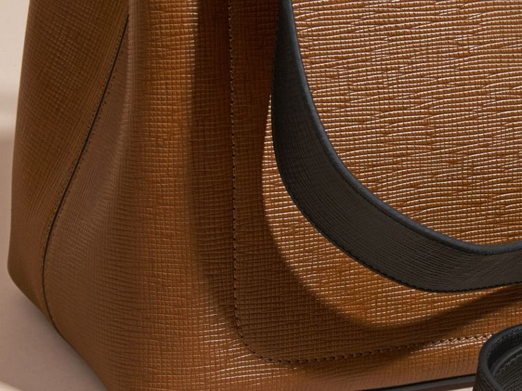Tan The Medium Saddle Bag in Textured Bonded Leather - cell image 1