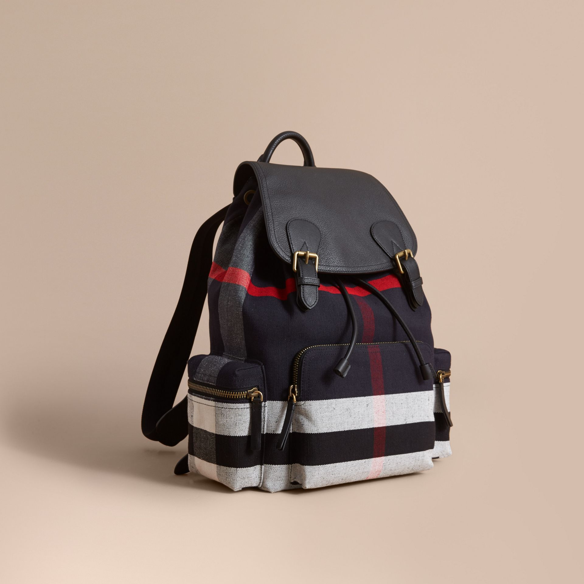 The Large Rucksack in Canvas Check and Leather in Black - gallery image 1