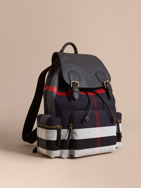 The Large Rucksack in Canvas Check and Leather Black