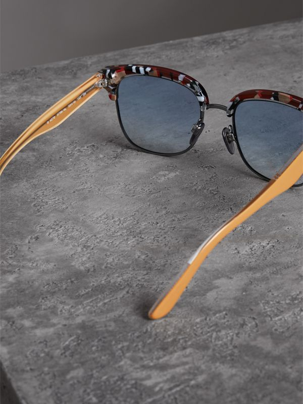 Check Detail D-frame Sunglasses in Burgundy - Men | Burberry Singapore - cell image 3
