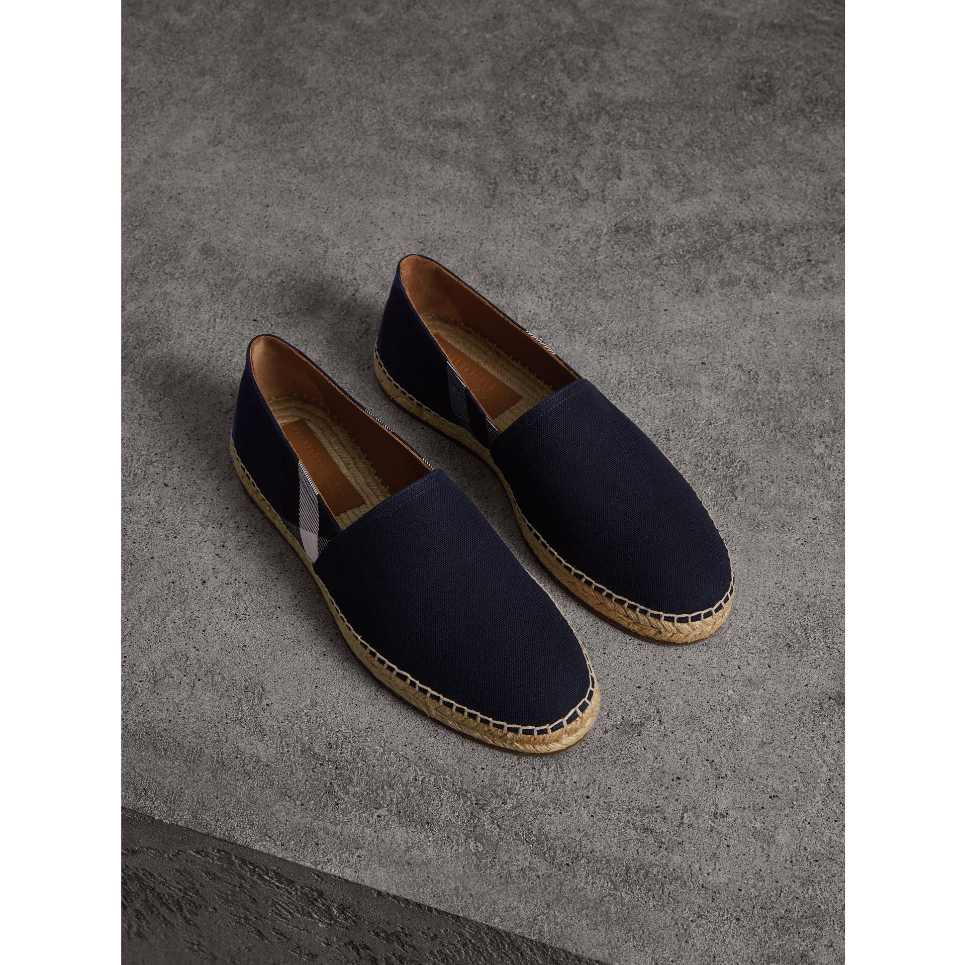 Overdyed House Check and Cotton Canvas Espadrilles in Indigo Blue - Men | Burberry United Kingdom - gallery image 0