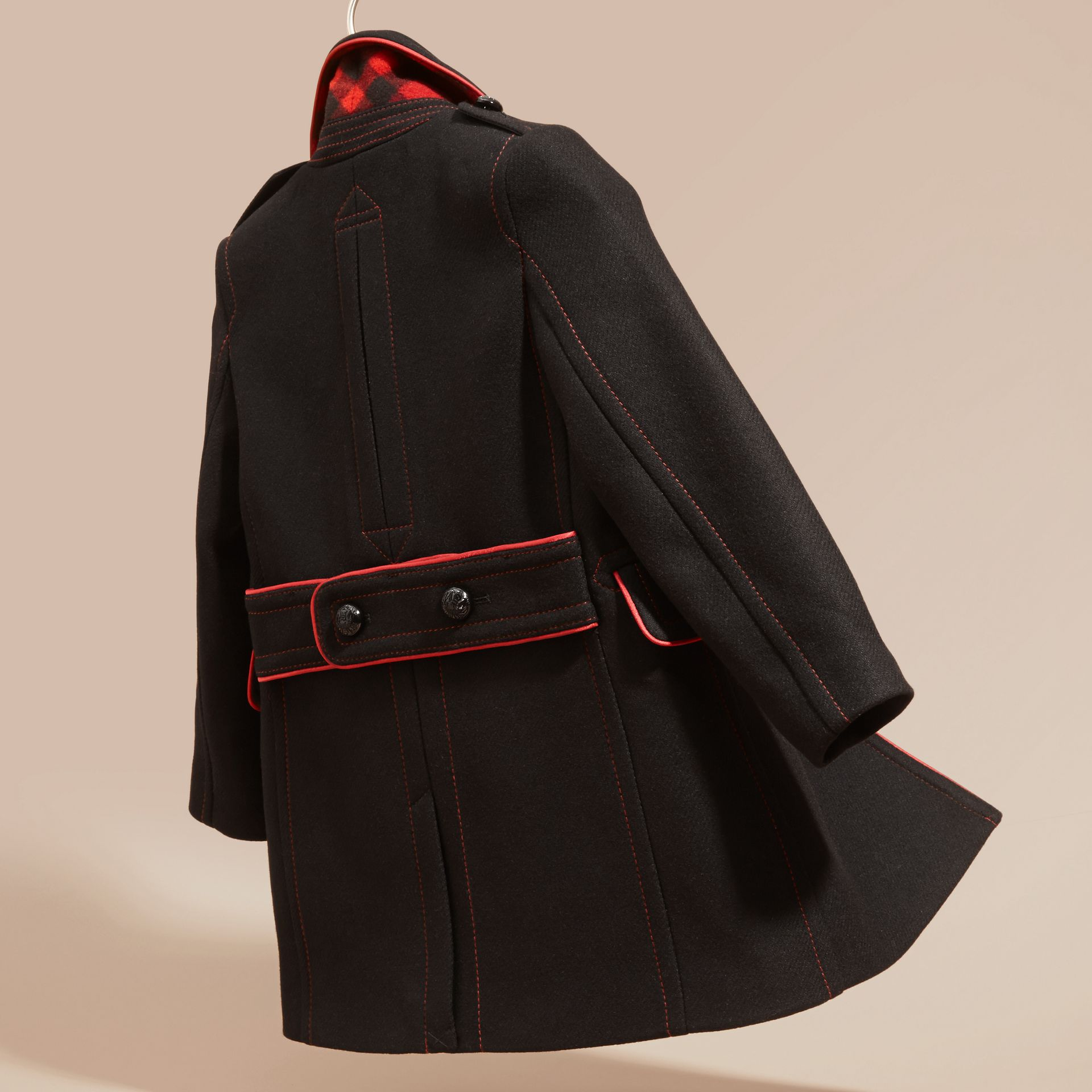 Black Technical Wool Cashmere Military Coat - gallery image 4