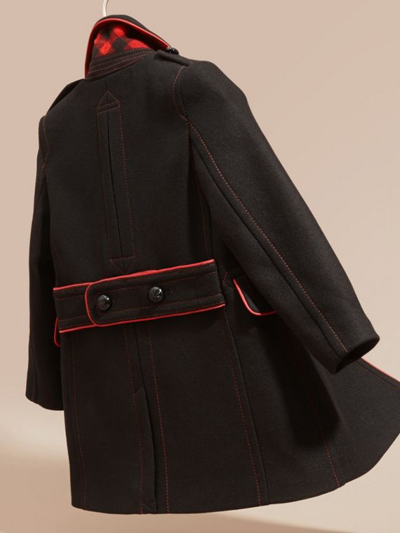 Black Technical Wool Cashmere Military Coat - cell image 3