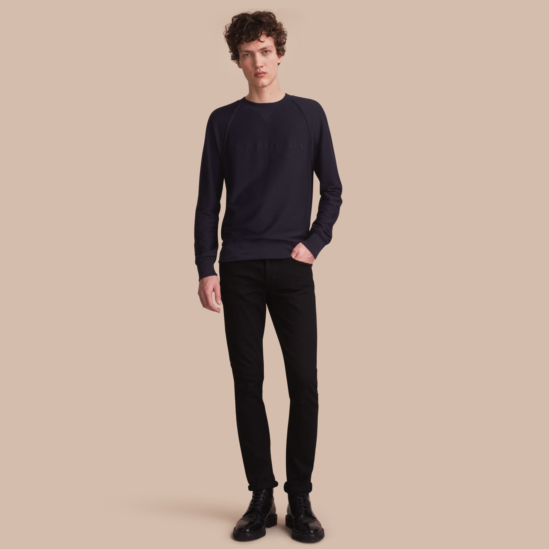 Embroidered Motif Cotton-blend Jersey Sweatshirt Navy - gallery image 1