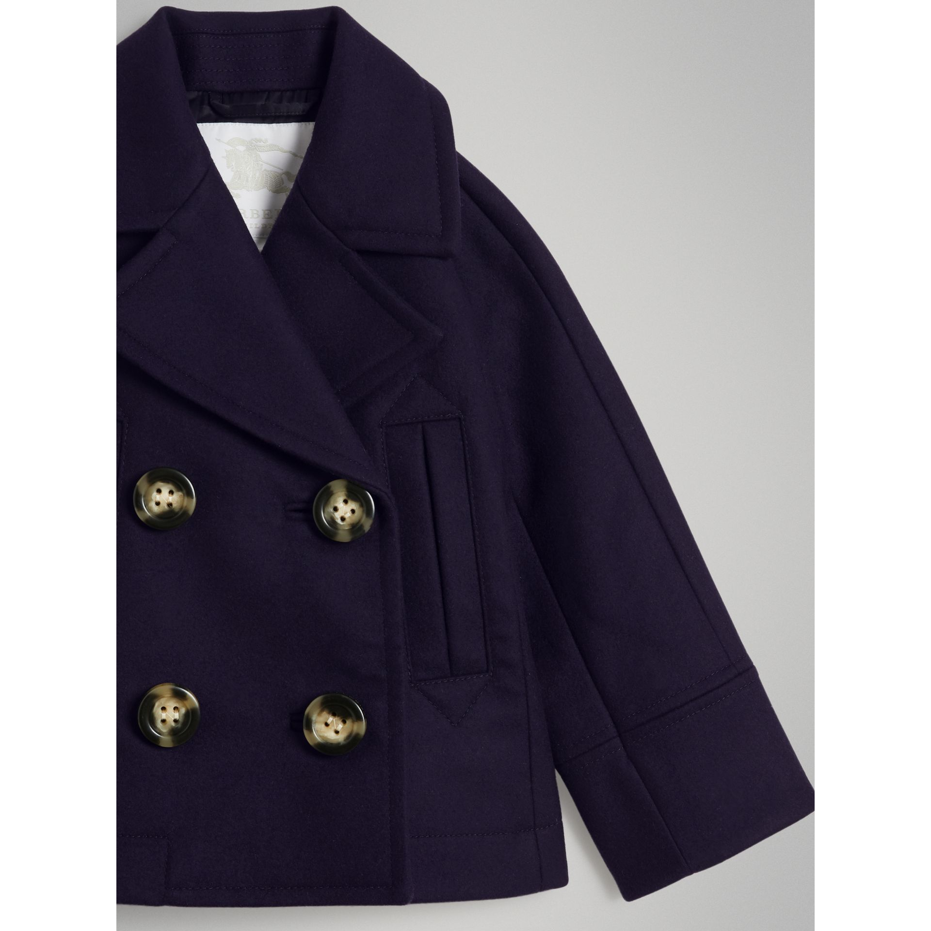 Short Wool Pea Coat in Navy - Girl | Burberry - gallery image 4