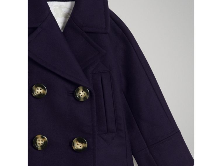 Short Wool Pea Coat in Navy - Girl | Burberry - cell image 4