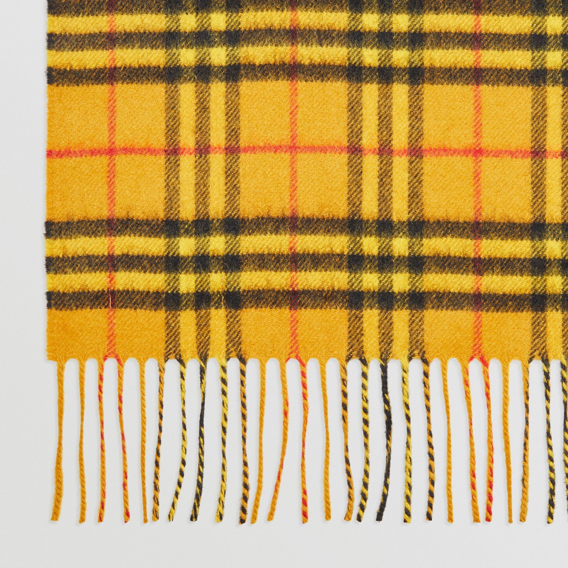 The Classic Vintage Check Cashmere Scarf in Vibrant Yellow | Burberry Australia - gallery image 1