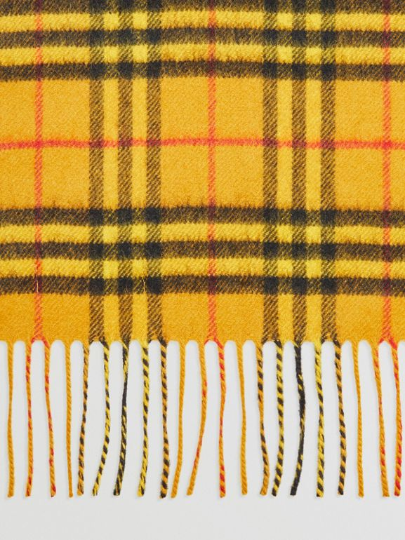 The Classic Vintage Check Cashmere Scarf in Vibrant Yellow | Burberry Australia - cell image 1