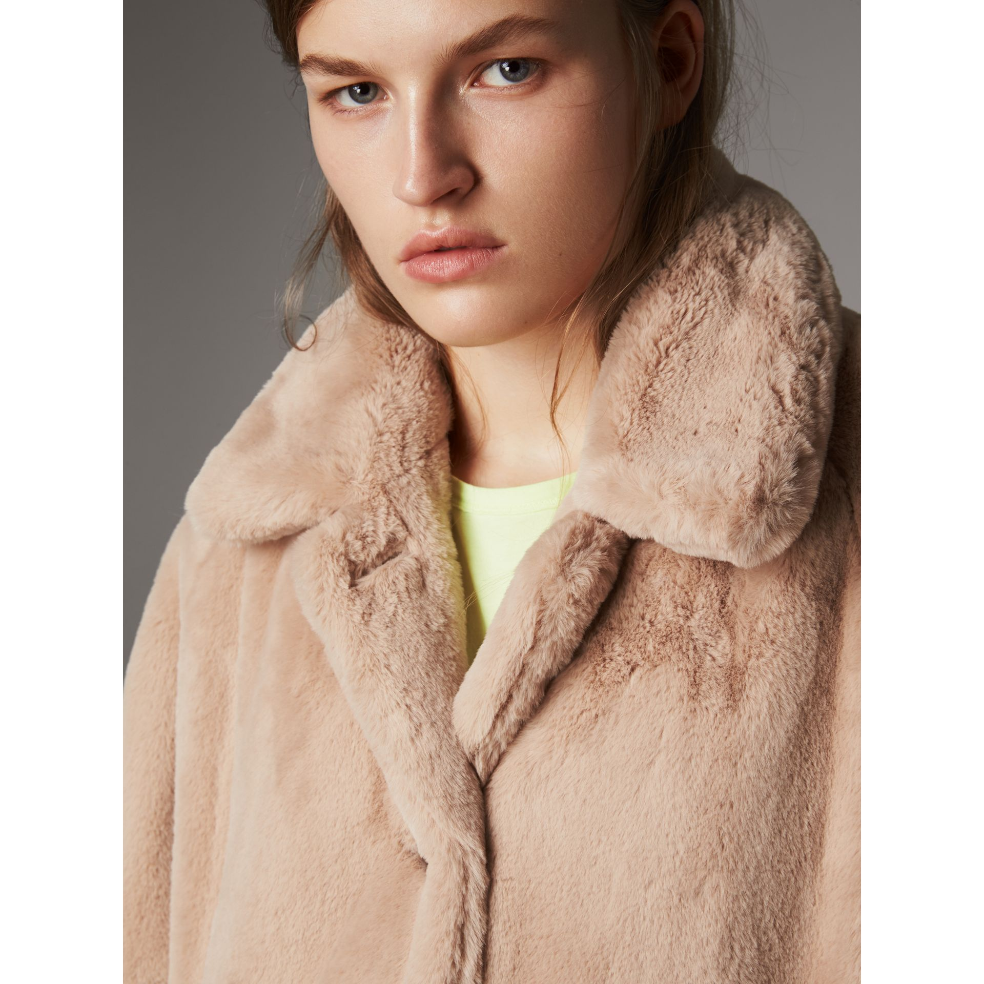 Faux Fur Single-breasted Car Coat in Nude - Women | Burberry - gallery image 1
