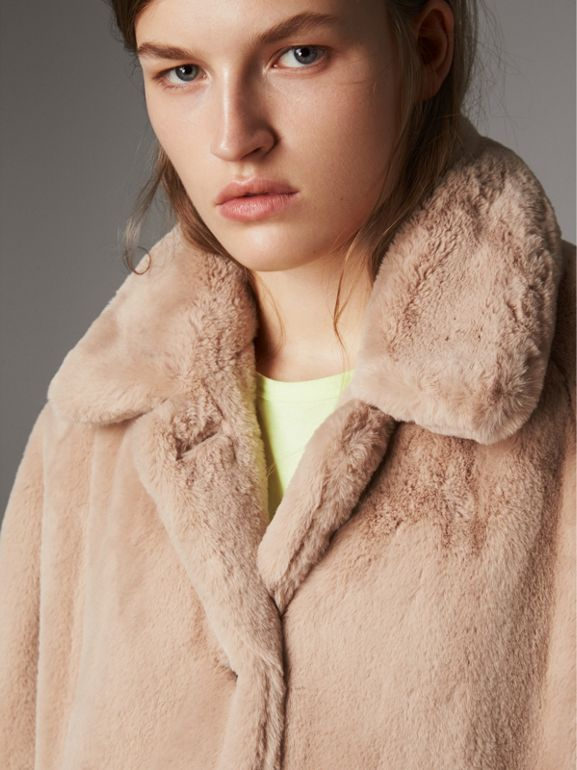 Car coat monopetto in pelliccia sintetica (Carne) - Donna | Burberry - cell image 1