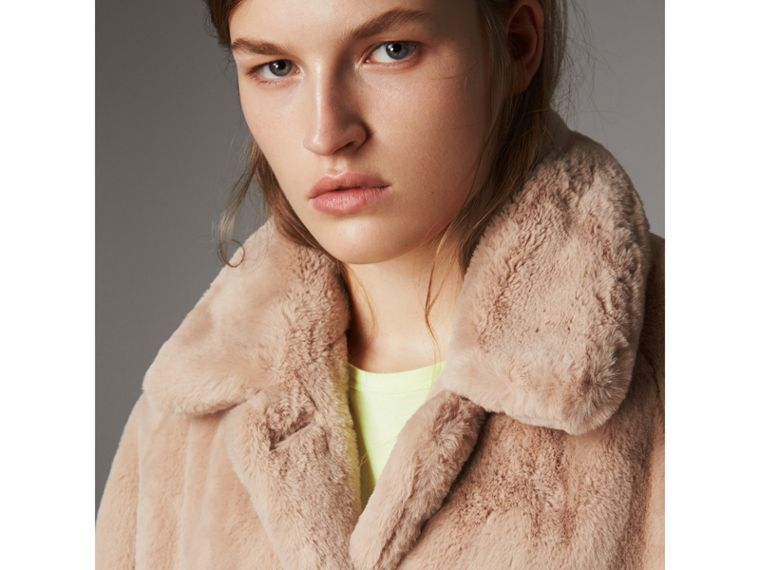 Faux Fur Single-breasted Car Coat in Nude - Women | Burberry - cell image 1