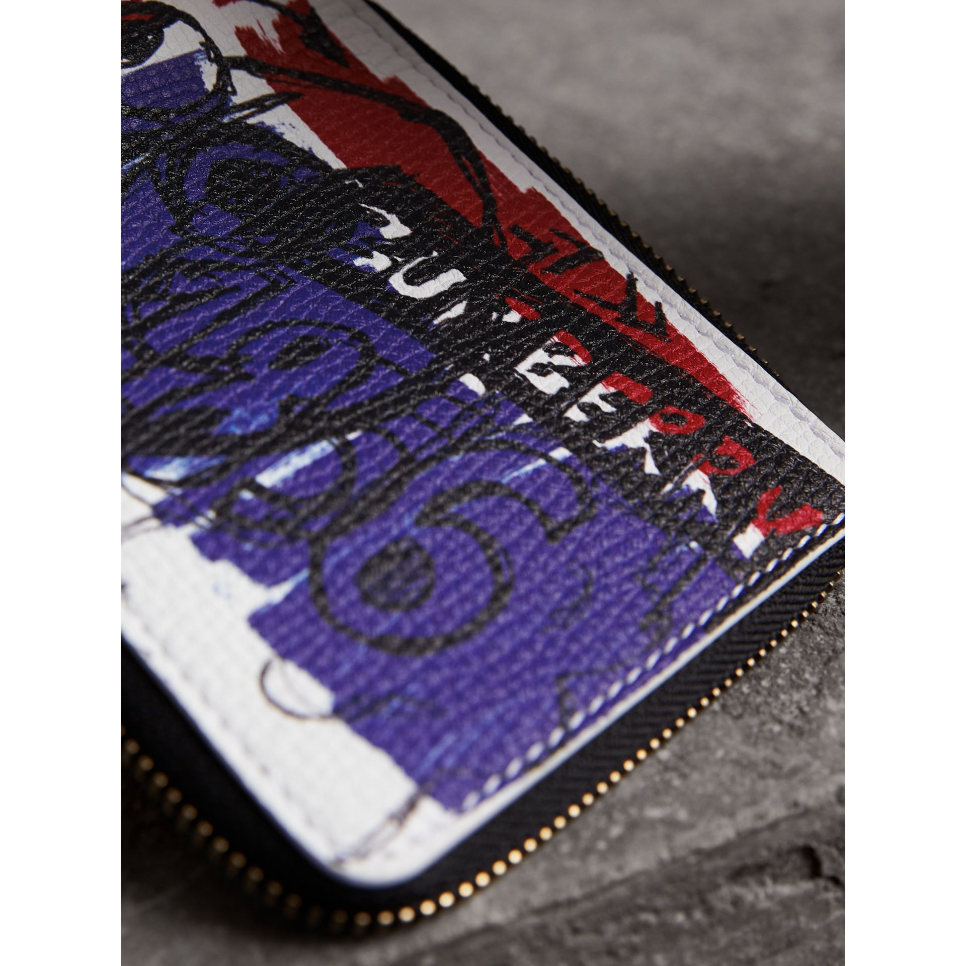 Doodle Print Leather Ziparound Wallet in White - Men | Burberry - gallery image 1