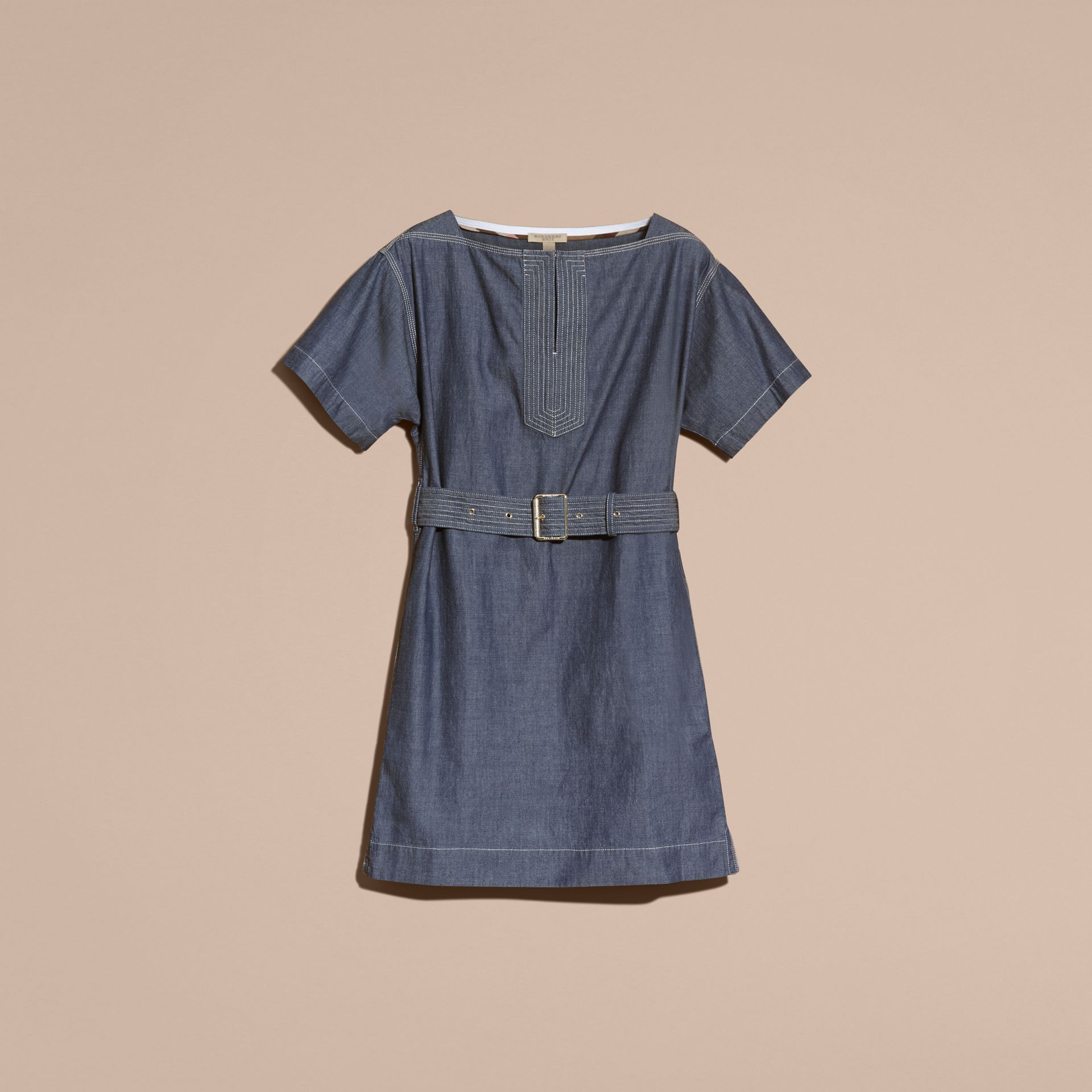 Light indigo blue Short-sleeved Chambray Cotton Dress with Belt - gallery image 4