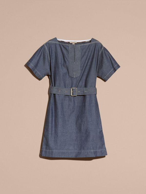 Light indigo blue Short-sleeved Chambray Cotton Dress with Belt - cell image 3