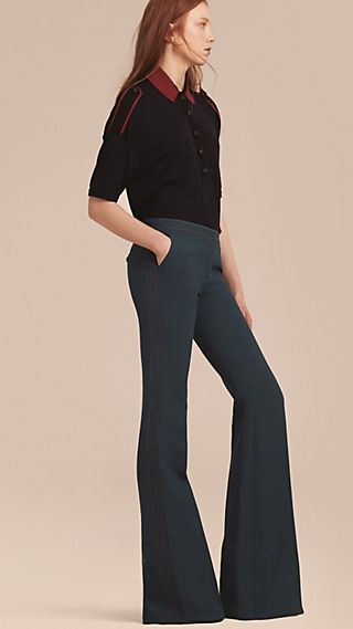 Wool Silk Boot Cut Trousers