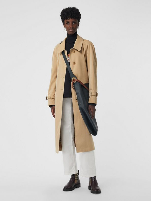 Trench coat de gabardine tropical com fendas laterais (Mel)