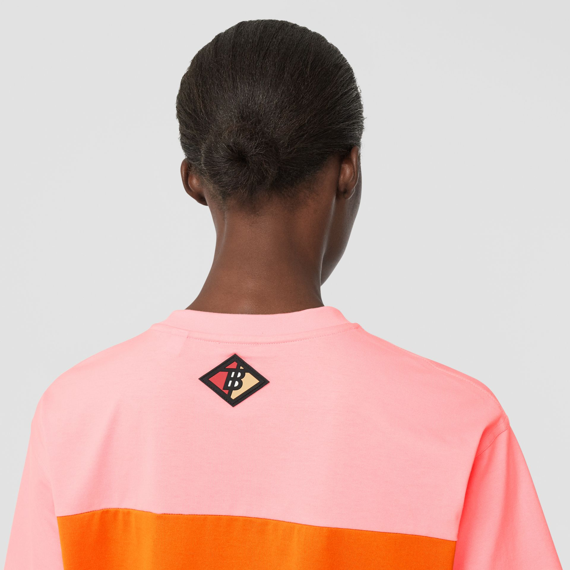 Logo Graphic Panelled Cotton Oversized T-shirt in Candy Pink - Women | Burberry - gallery image 4