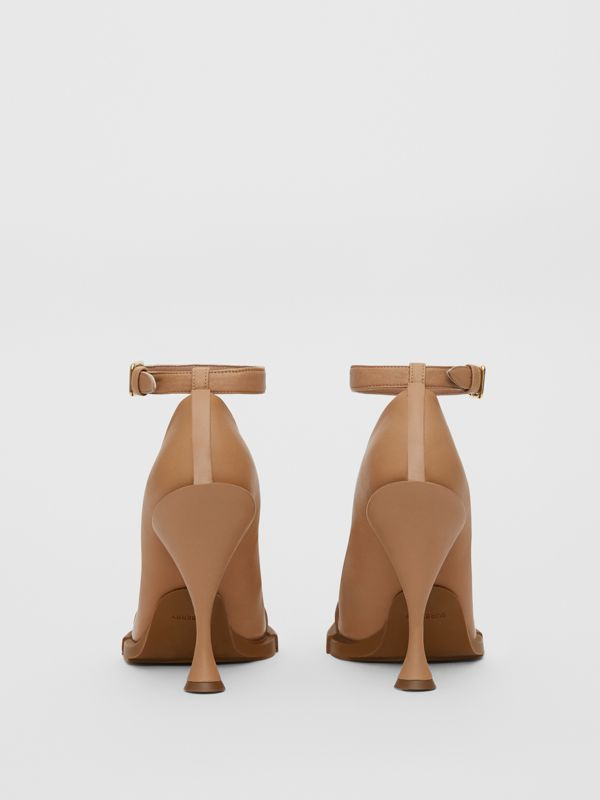 Toe Cap Detail Leather Point-toe Pumps in Soft Camel - Women | Burberry - cell image 3