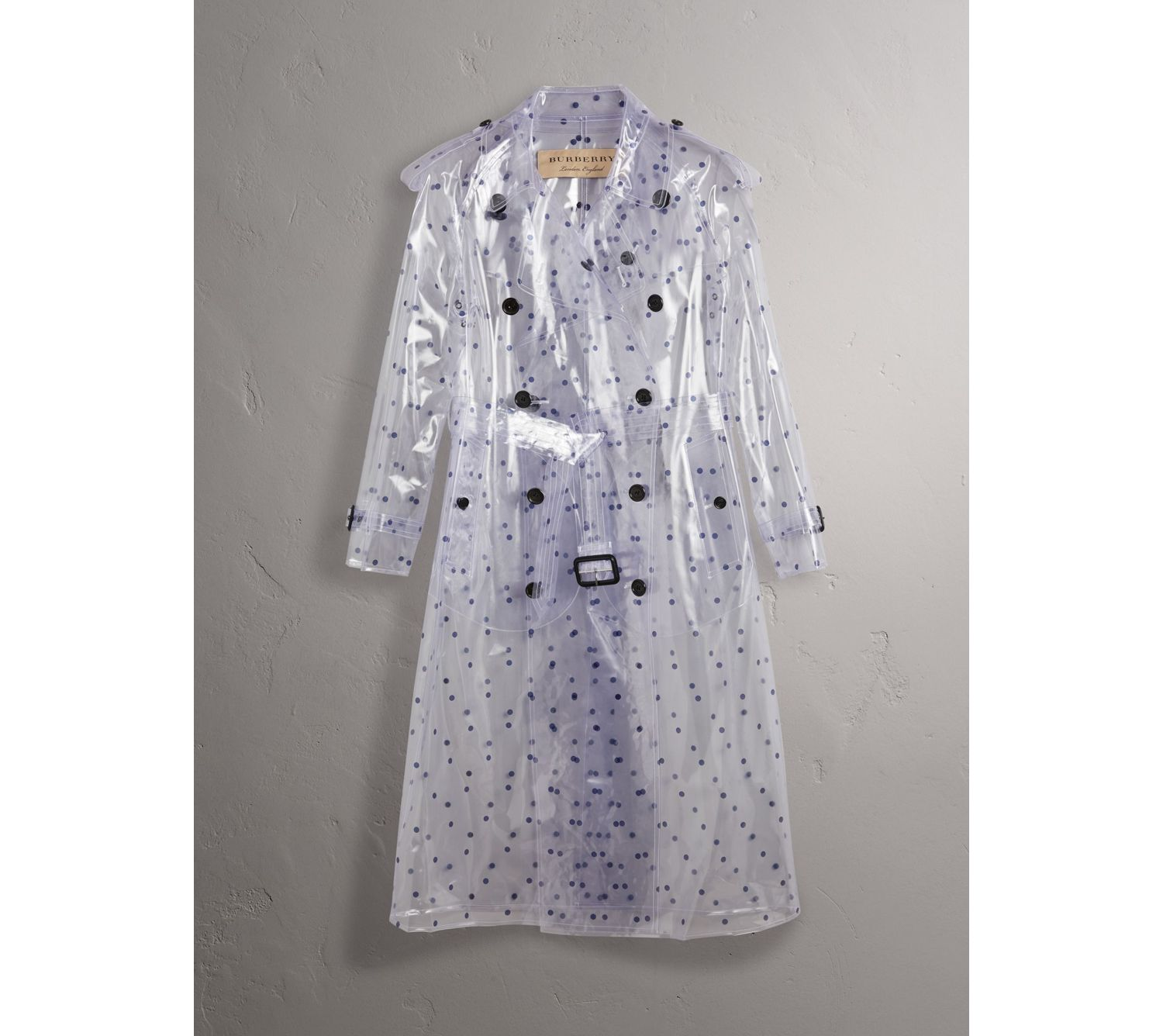 Polka-dot Plastic Trench Coat – Online Exclusive in Navy