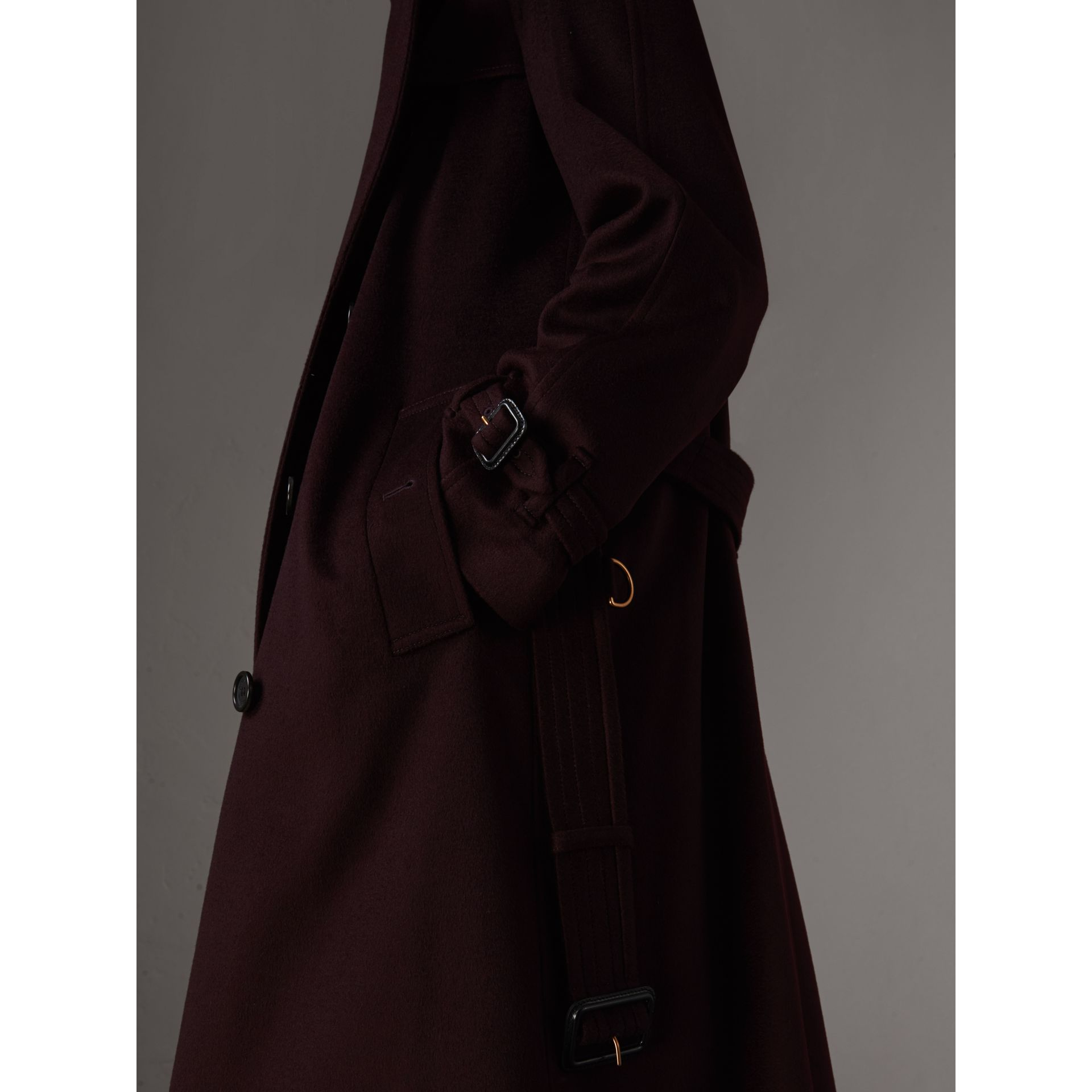 Cashmere Trench Coat in Blackcurrant - Women | Burberry - gallery image 4