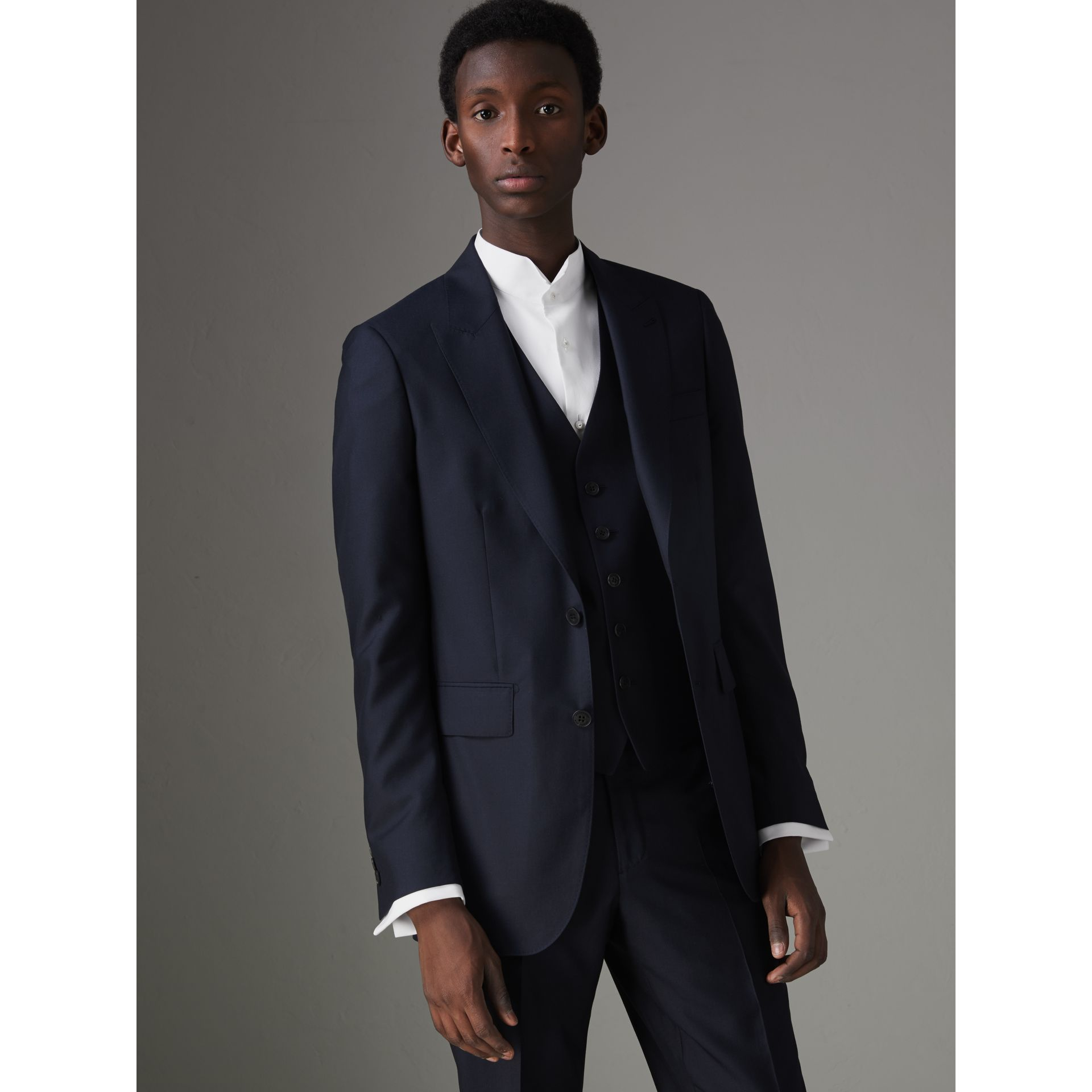 Slim Fit Wool Silk Three-piece Evening Suit in Navy - Men | Burberry - gallery image 6