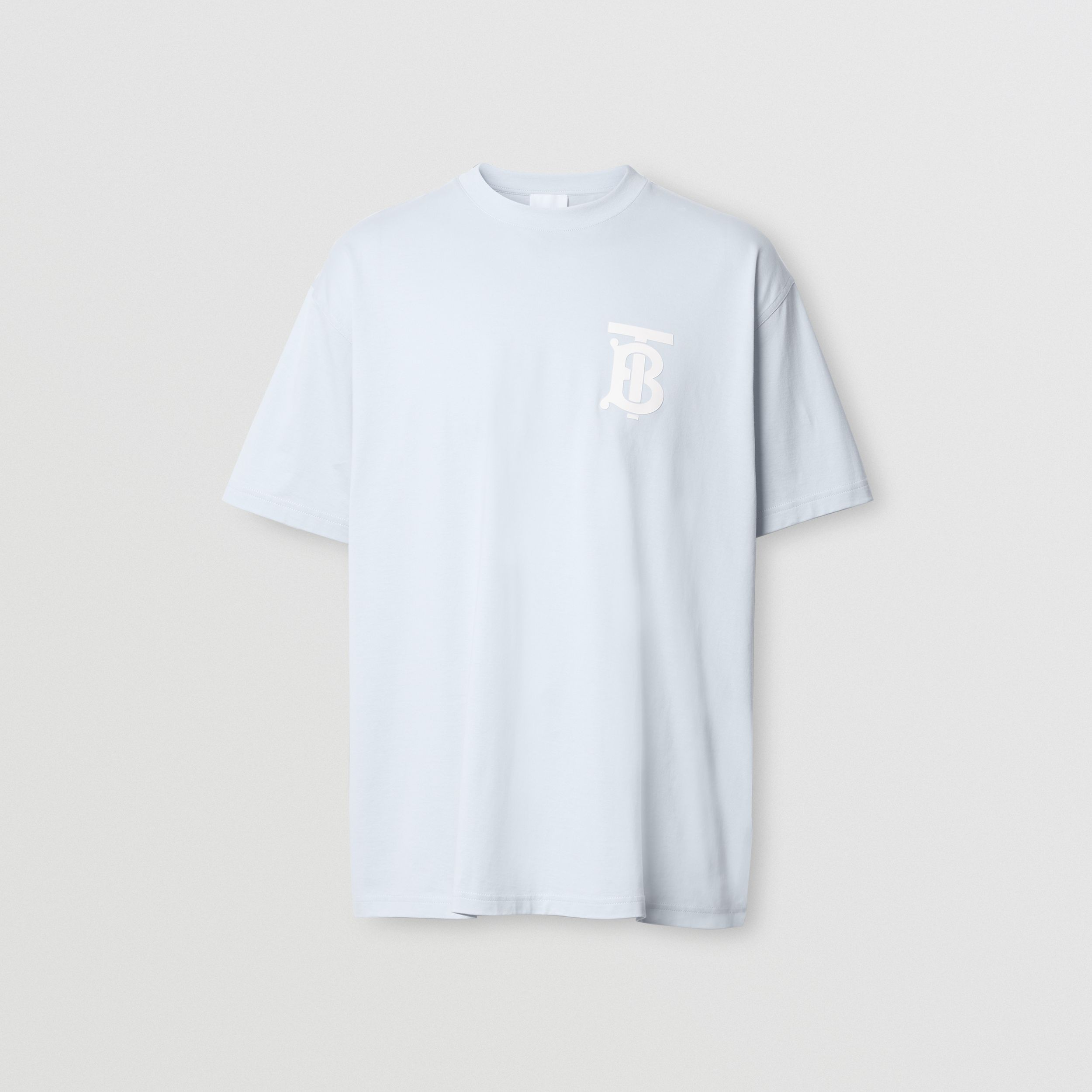 Monogram Motif Cotton Oversized T-shirt in Pale Blue - Men | Burberry - 4