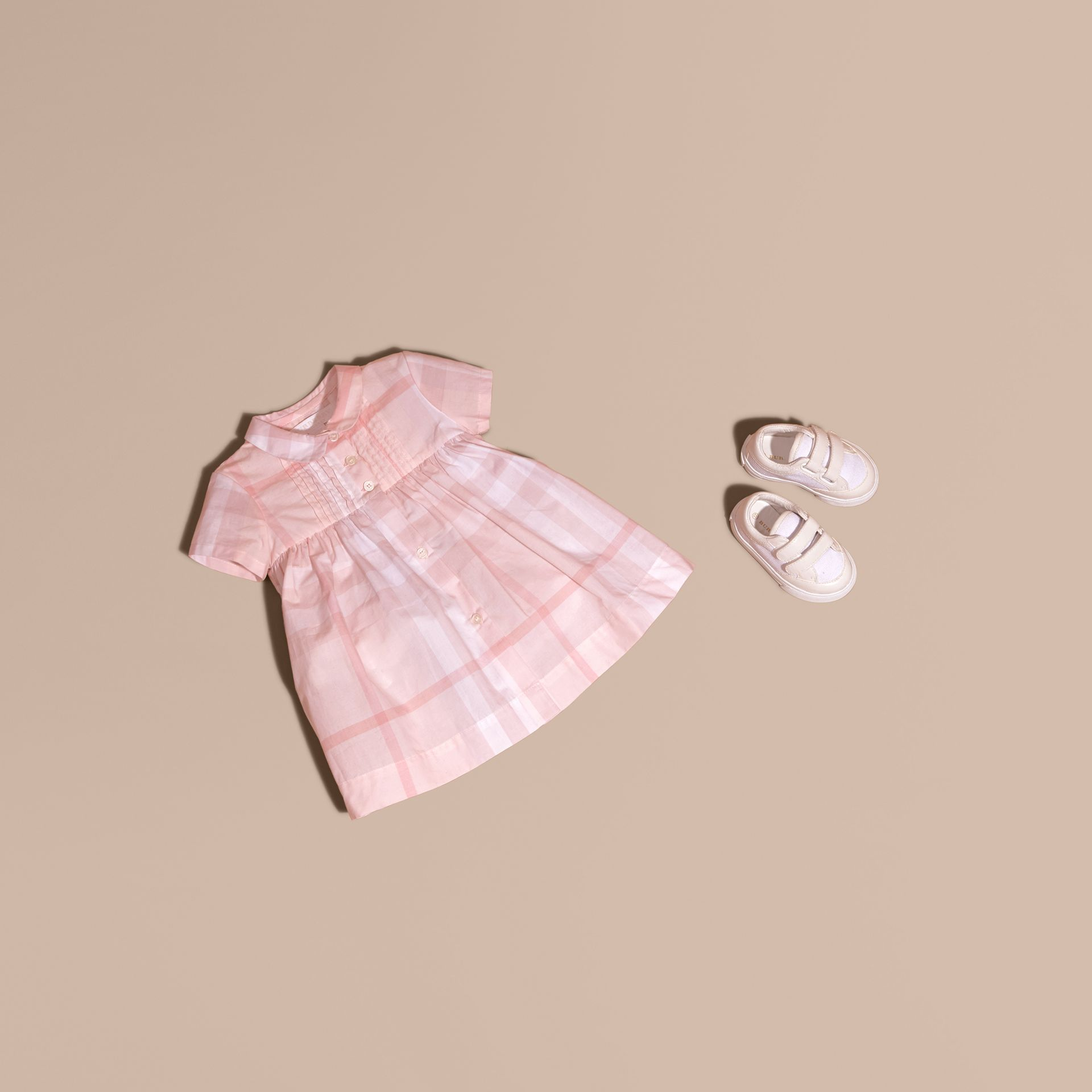 Ice pink Check Cotton Pin Pleat Dress and Bloomers - gallery image 1