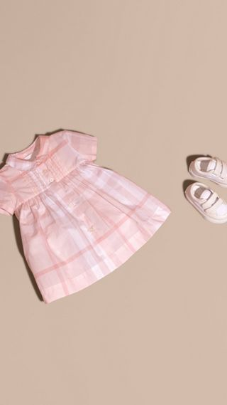 Check Cotton Pin Pleat Dress and Bloomers