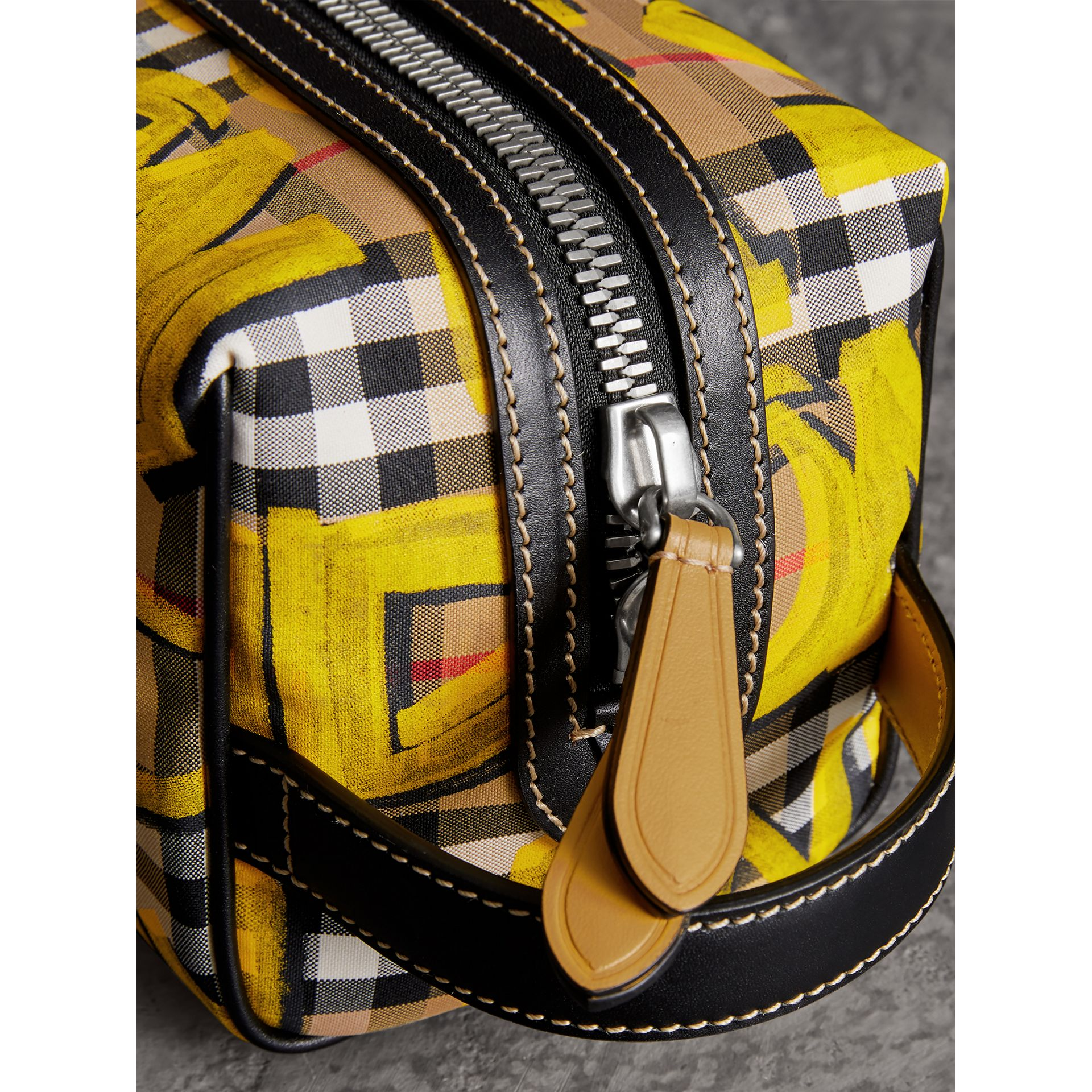 Graffiti Print Vintage Check and Leather Pouch in Bright Yellow/antique Yellow | Burberry Canada - gallery image 1