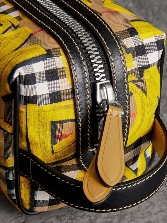 Graffiti Print Vintage Check and Leather Pouch in Bright Yellow/antique Yellow | Burberry Canada - cell image 1