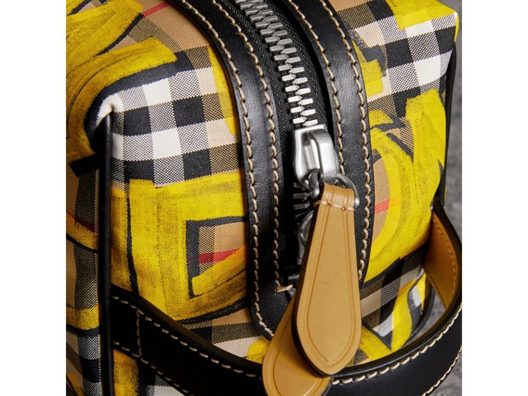 Graffiti Print Vintage Check and Leather Pouch in Bright Yellow/antique Yellow | Burberry - cell image 1